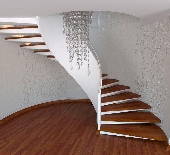 Лестница с бетонным ограждением двухэтажного дома