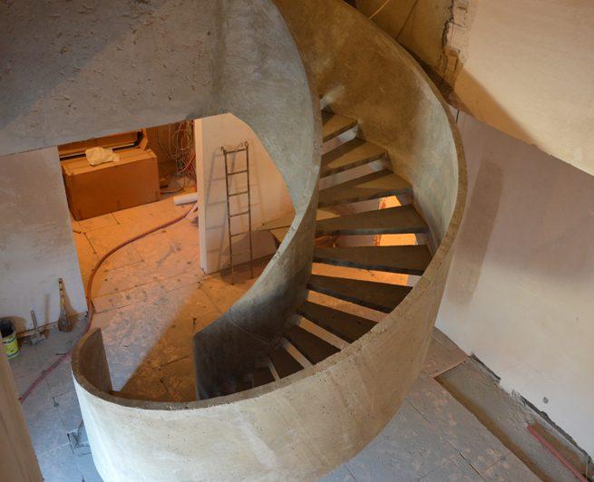 Двухтетивная бетонная лестница вид сверху