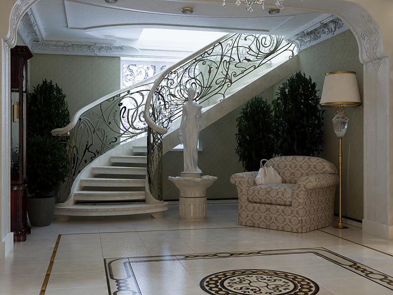 Ограждение лестницы кованные перила