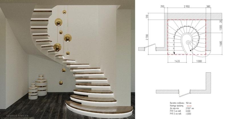Эскиз лестницы половинчастый косоур
