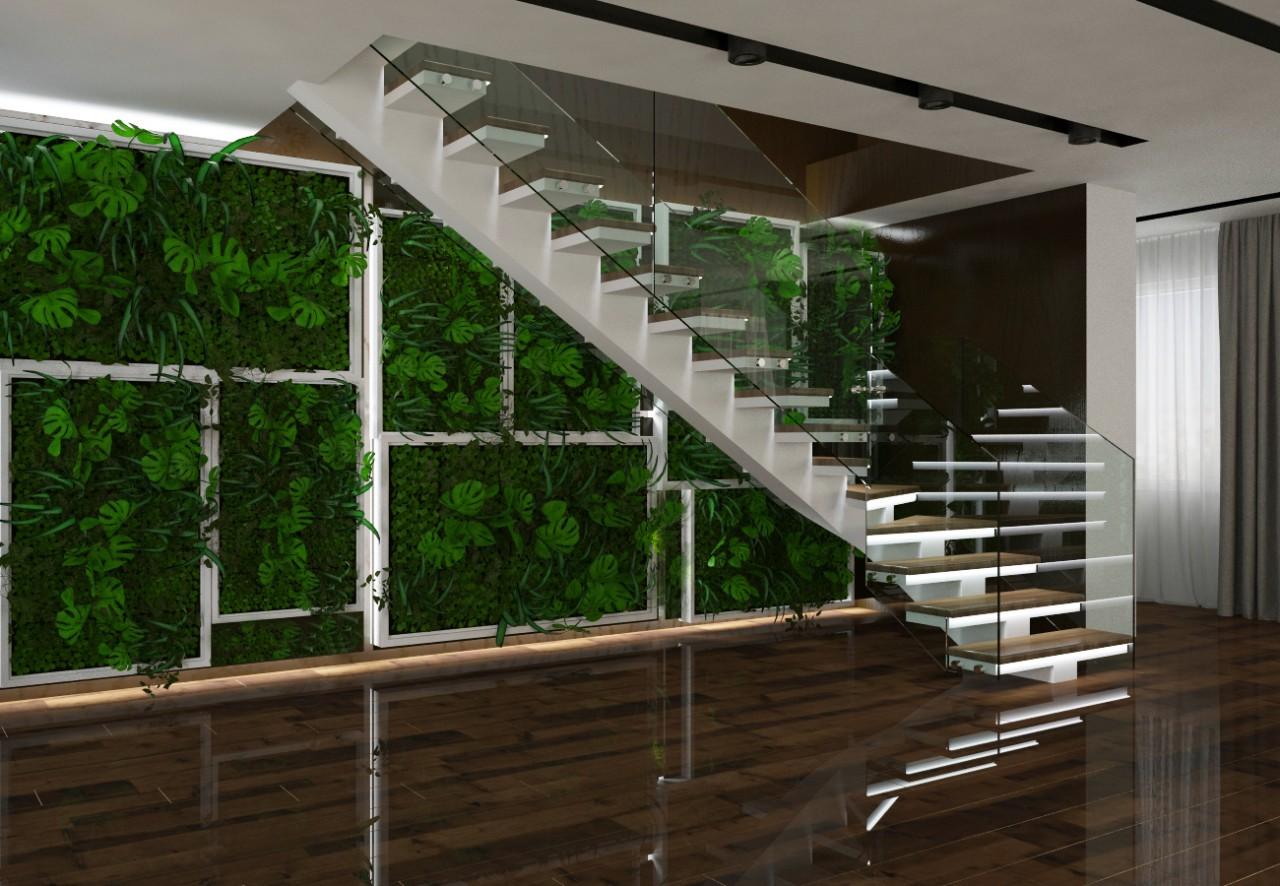 бетонная лестница с зеленью
